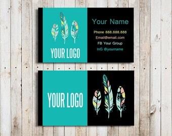 Boho Business Cards Custom Business Cards Digital Business Cards Black Feathers LuLa Business Cards Black LLR