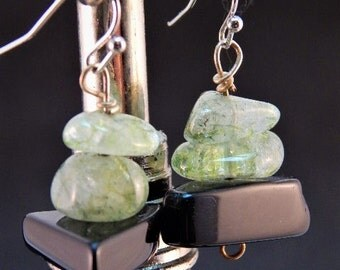 polished stone multi color earrings