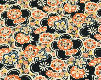 Japanese Yuzen (Chiyogami) Paper - 6x6 inches - 1, 3, 5, or 10-Sheet Pack - Multicolored Blossoms (Black) - #726