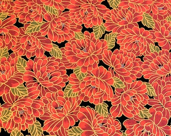 Japanese Yuzen (Chiyogami) Paper - 6x6 inches - 1, 3, 5, or 10-Sheet Pack - Red Chrysanthemums - #117