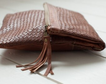 Hand Woven Tan Leather Clutch Handbag, Fine Leather, Extendable Fold Over Flap, Extendable Handbag, Clutch, Cross Body or Shoulder Bag