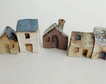 Miniature houses, Small houses, fairy house, terrarium decor, tiny clay house, small ceramic houses, tiny town, Secret garden, SET OF 5, 101