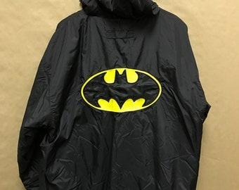 Batman LOGO Reversible Jacket VTG 90s Windbreaker