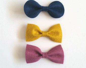 Clip On Bow, Felt Bow Tie, Bow Hairclip, Hair Bow, Hair Accessory, CUSTOM COLORS