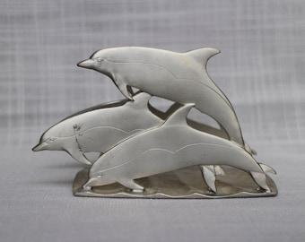 Amos Pewter Dolphin Napkin Holder, Vintage Pewter Letter Napkin Mail Holder, Dolphin Lovers Table Decor, Canada