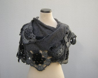 Triangle shawl hand knit scarf crochet triangle towel flower border