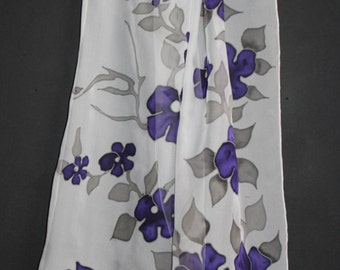 SHIPPING from US,ASAP,Hand painted silk scarf,White chiffon scarf,Floral,Forget me not,Purple flower,Handmade scarf,Armenian scarf