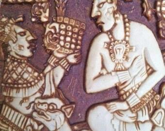 Mayan Ceramics Wall Plaque/Aztec Ceramic Wall Plaque/Ancient Mayan Scene Ceramics/Mayan Art/Mayan Clay Art/Mayan Figurine/Pre-Columbian Art