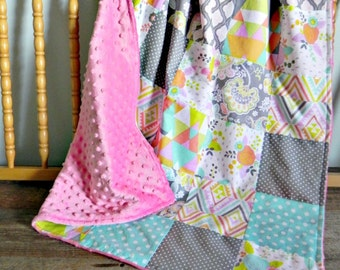 Floral Patchwork Minky Baby Blanket - READY TO SHIP