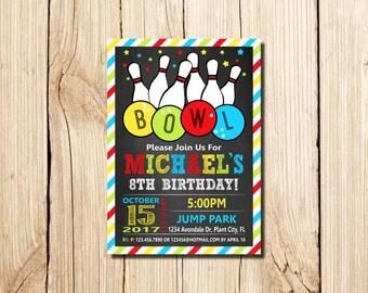 Bowling Invitation, BOWLING BIRTHDAY INVITATION, Printable Bowling Invitations, Bowling Party Invitation, Boy Bowling  Invitation, Bowling