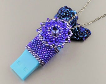 Wearable tech, Flash Drive Swarovski pendant necklace, Beaded USB Flash Drive, Beadwork Crystal Memory Stick, Beadwoven Pendrive, Sale