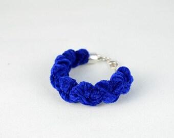 Bracelet blue electric, bracelet fabric velvet, original bracelet, chic bracelet, bracelet braided, modern