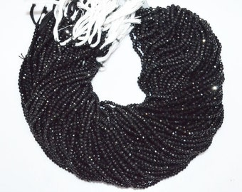Good Quality Black Spinel Rondelle Beads 13 Inch Strand , Black Spinel Faceted Rondelle Beads , 4 mm - MC872