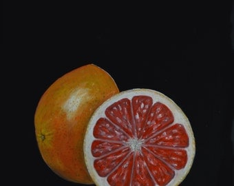 Grapefruit paintings  Ruby red grapefruit  still life paintings  kitchen decor