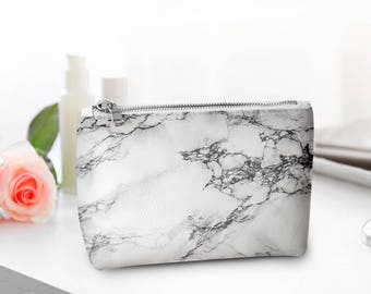 Marble Cover Bag Small Cosmetic Bag Travel Pouch Make Up Travel Bag Toiletry Zipper Pouch Cosmetic Bag Leather Toiletry Bag Cosmetic Marble