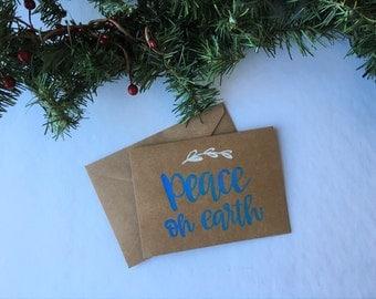 Christmas Card   Holiday Card   Peace   Peace On Earth   Greeting Card   Hand Lettered   Kraft Card