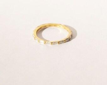Skinny ring - skinny stacking ring - tiny cz ring - thin stacking ring - baguette ring - baguette cz ring - tiny gold ring - B10199