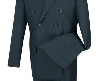 Classic-fit double breasted men's suit 2 piece navy suit solid color new with tag
