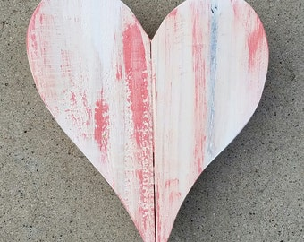 Small heart | Heart | Wood Pallet Heart | Wood Heart | Pallet Heart | Pink and White Heart
