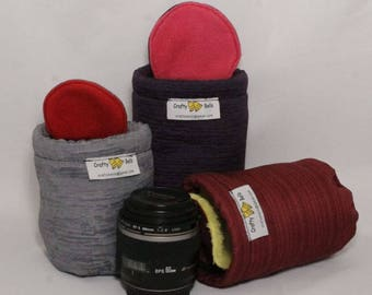 Camera Lens Bags (Small to X Sml), DSLR Lens Bags,  Custom made for any lens, Non-abrasive fabric protects lens from scratches and dents