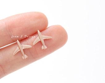 Small Airplane Stud Earrings