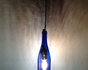Antique, Colbalt Blue, vintage, glass pendant light