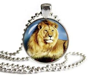 Lion Glass Pendant with Necklace Lion Jewelry Lion Necklace