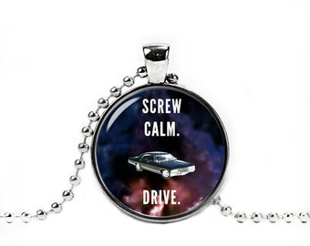 Supernatural Necklace Screw Calm. Drive. Supernatural Pendant Supernatural Jewelry Supernatural Quote