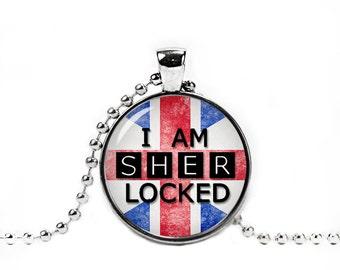 I am Sherlocked Necklace Sherlocked Pendant British Flag Fangirl Pendant  Geeky Jewelry Fangirl Fanboy