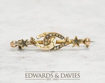 Pearl Gold Horseshoe Star Pin Brooch | Pearl Pin Brooch | Gold Lapel Pin  | Antique Jewelry | Antique Jewellery | Antique Brooch | Antique