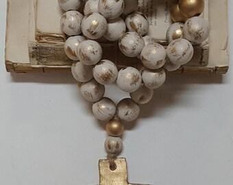 "Beige Grace Series Bibelot Blessing Beads|Home Decor|30""|Hand Painted|Gift"