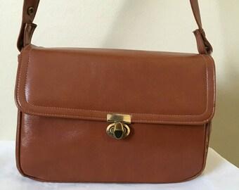 Vintage Cara Purse Cognac Genuine Leather Satchel Shoulder Bag Made In USA