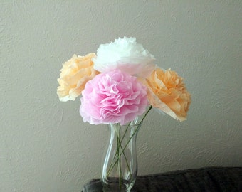 Paper Peonies with Stems, Medium paper flowers, Pink peonies, Peach peonies, White peonies, Coffee filter flowers, Handmade home decor
