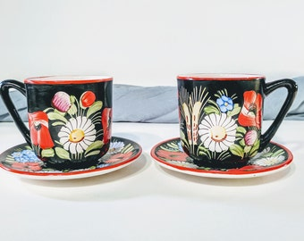 Japanese tea cups/ Hand painted tea cups/ Floral tea cups/ Vintage tea cups/ Handmade vintage tea cups/ Tea cups/ Tea cup set