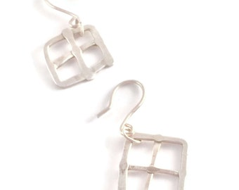 Funky Window Earrings *   Sterling Silver Hand Wrought Artisan Dangle Earrings