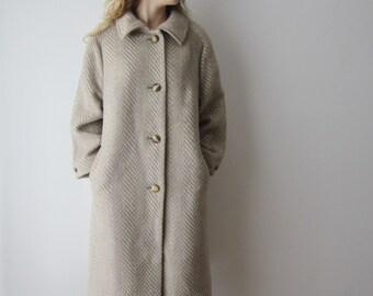 Vintage MarCona Wool Blend Mohair Coat Beige Grey Romantic Coat Women's Large Size Midi Office Lady Coat