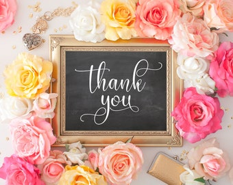 "Thank You Printable Chalkboard Wedding Sign || 8""x10"" Thank You Sign For Wedding Photo || Wedding Chalkboard Sign (DIGITAL DOWNLOAD)"