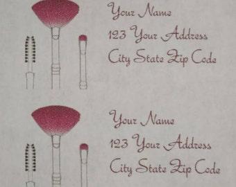 30 Cosmetics Blush Brush Lip Brush Theme Return Address Labels