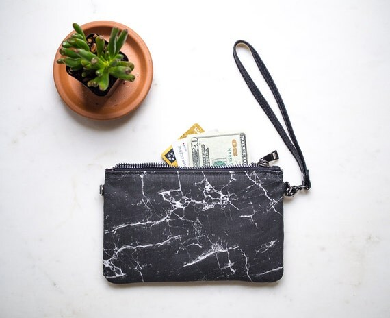 Womens Minimalist Wallet, Leather and Canvas Zipper Purse, Black Marble Bag, Wallet with Strap, Clutch Purse, Card Holder, Mothers day gifts