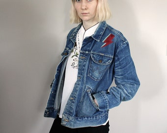 Vintage Stonewash Wrangler Denim Western Jacket with David Bowie Lightning Bolt Hand Embroidery - Small/Medium