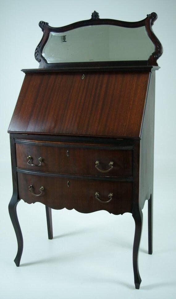 B602 Antique Mahogany Slant Drop Front Desk Secretary With