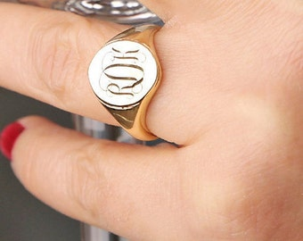 Gold Signet Ring,Sterling Silver,Personalized Engraved Ring,Gold Ring,Gold Monogram Ring,14k Gold Filled Signet Ring,Bridesmaid Gift