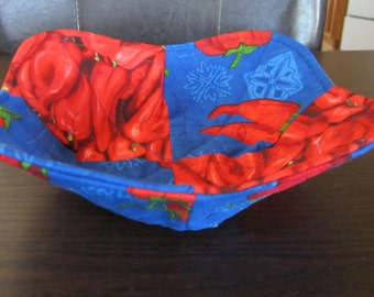 Microwave bowl cozy - Set of 2 microwave bowl cozies -  bowl cozy - microwave potholders - potholders - chili pepper bowl potholders