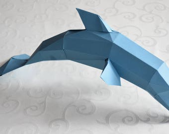 Papercraft dolphin PDF template