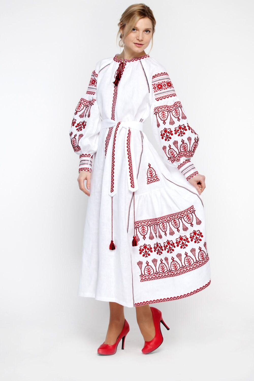 Embroidered long boho dress white for women ukrainian