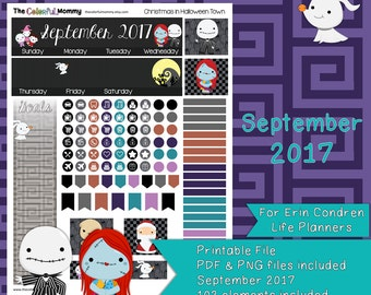Christmas in Halloween Town SEPTEMBER 2017 Monthly Planner Sticker Kit | use with Erin Condren Planner | Nightmare | Printable | PDF