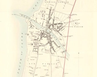 Ayr and Suburbs, old town plan | Fine Art Print | Vintage map of Ayrshire near Alloway, Scotland old town map from 1830's