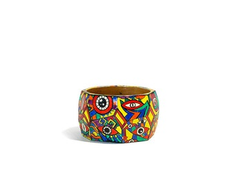 Psychedelic / hand painted wooden bangle / colourful boho bracelet for woman / multicolored / american native inspired / ornament