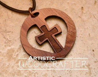 Wooden Cross Necklace (Cedar)