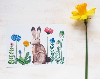 Postcard | Easter with hand-painted motifs - spring, Easter, Bunny, postcard, illustration, watercolor, handmade, card, greeting card, flowers